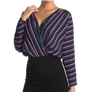 ASTR the Label Striped V Neck Surplice Bodysuit
